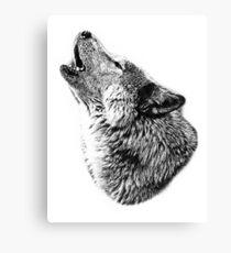 Wolf Howling. Digital Wildlife Image. Canvas Print