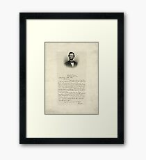 Handwritten Letter from Abraham Lincoln Framed Print