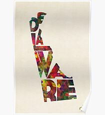 Delaware Typographic Watercolor Map Poster