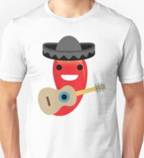Spicy Chili Emoji Happy Smiling Face with Guitar Unisex T-Shirt