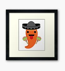 Spicy Chili Emoji Tongue Out Framed Print