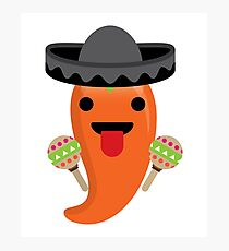 Spicy Chili Emoji Tongue Out Photographic Print