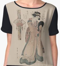 Vintage geisha with fan illustration  Women's Chiffon Top