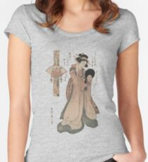 Vintage geisha with fan illustration  Women's Fitted Scoop T-Shirt