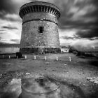 The watchtower in El Campello after the rain by Ralph Goldsmith