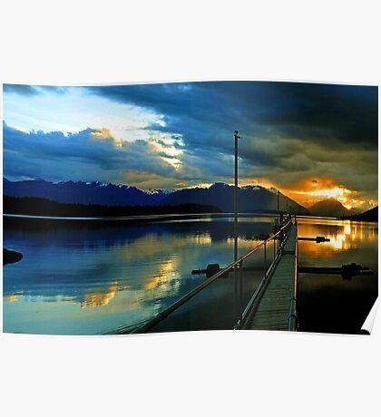 Lake Te Anau at sunset. South Island, New Zealand. (3) Poster