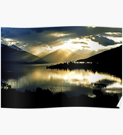 Lake Te Anau at sunset. South Island, New Zealand. (2) Poster