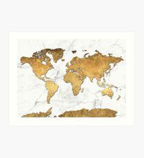 world map gold 6 Art Print