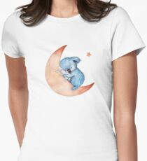 Koala bear sleeping on the moon. Womens Fitted T-Shirt