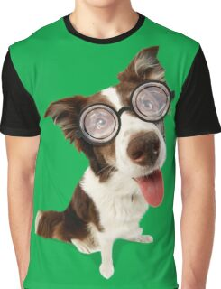 Crazy Border Collie dog wearing glasses Graphic T-Shirt