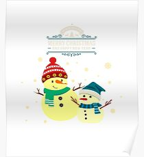 Merry Christmas With Two Cute Snowmen Poster
