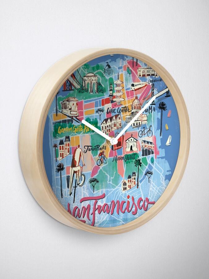 Alternative Ansicht von San Francisco illustrierte Karte Uhr