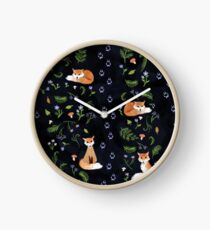 Foxes at Night Clock