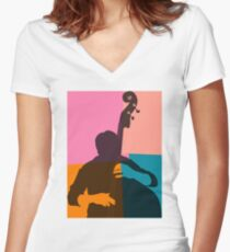 Jazz Acoustic Bass Player Women's Fitted V-Neck T-Shirt