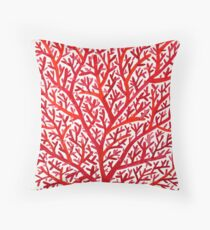 Red Fan Coral Throw Pillow