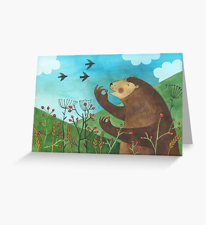 Bear eats hawthorn Greeting Card