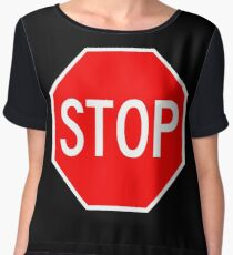 STOP original sign sticker Chiffon Top