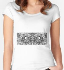 Raw Rough Mean Angry Evil Eyes Sharp Detailed Hand Drawn Women's Fitted Scoop T-Shirt