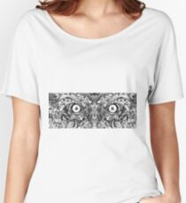 Raw Rough Mean Angry Evil Eyes Sharp Detailed Hand Drawn Women's Relaxed Fit T-Shirt