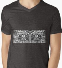Raw Rough Mean Angry Evil Eyes Sharp Detailed Hand Drawn Mens V-Neck T-Shirt