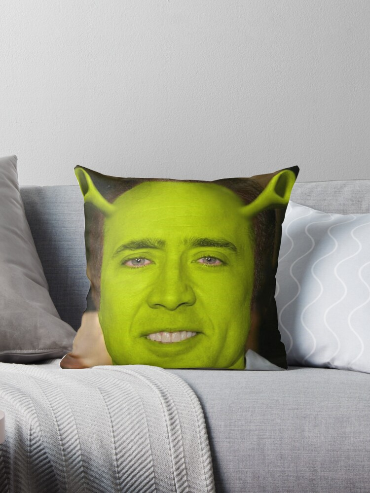 Quot Nicolas Cage Shrek Quot Throw Pillows By Balzac Redbubble