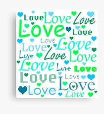 Love pattern - green and blue Canvas Print