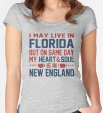 I may live in Florida but on game day my heart is in New England Women's Fitted Scoop T-Shirt