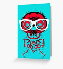 red skull and bone with white glasses and blue background Greeting Card