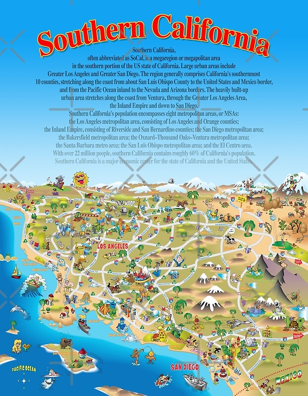 Cartoon Map of Southern California Posters by Dave Stephens – Tourist Attractions Map In California
