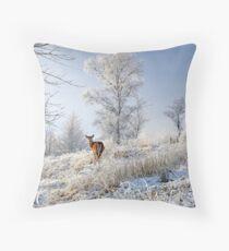 Glen Shiel Misty Winter Deer Throw Pillow