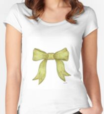 Green Ribbon Bow Women's Fitted Scoop T-Shirt