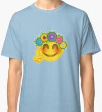Smiley Hippie Flower Child Emoticon Classic T-Shirt