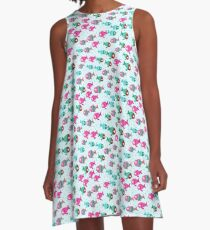 Abstract color cartoon fishes in the sea A-Line Dress