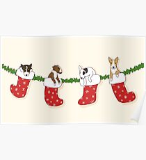 Christmas Bull Terrier Puppies - Creme Poster