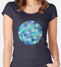 Cobalt Blue, Aqua & Gold Decorative Moroccan Tile Pattern Women's Fitted Scoop T-Shirt