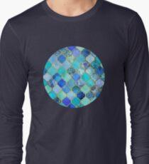 Cobalt Blue, Aqua & Gold Decorative Moroccan Tile Pattern Long Sleeve T-Shirt