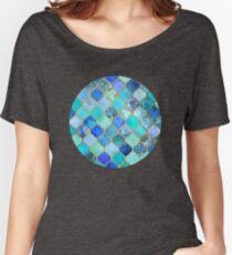 Cobalt Blue, Aqua & Gold Decorative Moroccan Tile Pattern Women's Relaxed Fit T-Shirt
