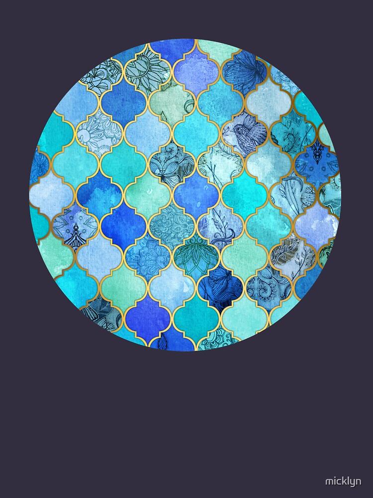 Cobalt Blue, Aqua & Gold Decorative Moroccan Tile Pattern by micklyn