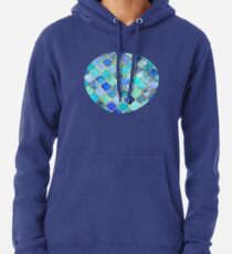Cobalt Blue, Aqua & Gold Decorative Moroccan Tile Pattern Pullover Hoodie