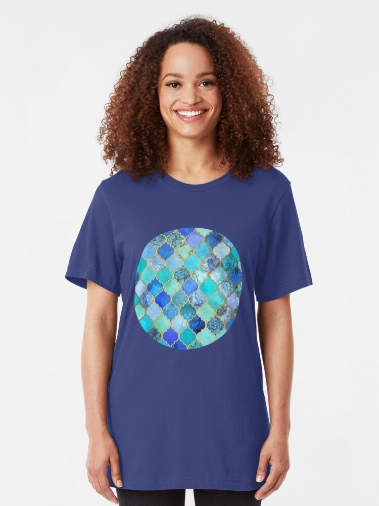 Alternate view of Cobalt Blue, Aqua & Gold Decorative Moroccan Tile Pattern Slim Fit T-Shirt