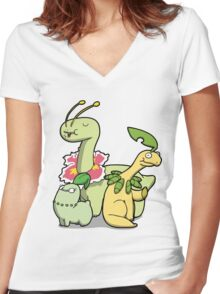 Leafy Dino's Women's Fitted V-Neck T-Shirt