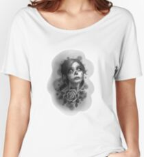 Day of the Dead Girl Black and White Pencil Sketch T-Shirt Women's Relaxed Fit T-Shirt