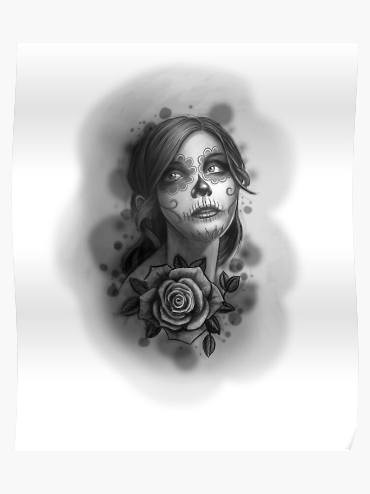 16790c9d1 Day of the Dead Girl Black and White Pencil Sketch T-Shirt