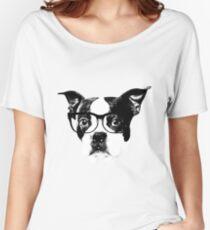 Boston terrier glasses  Women's Relaxed Fit T-Shirt