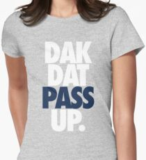 Dak Dat Pass Up. (WHITE/BLUE) Womens Fitted T-Shirt