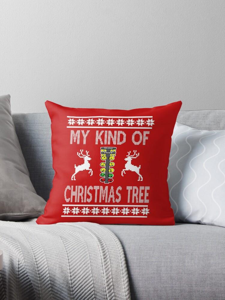 My Kind Of Christmas Tree Drag Racing Sweater Design Throw