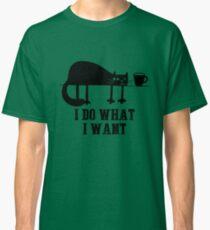 I Do What I Want Funny Black Cat Needs Coffee T-Shirt T-Shirt Classic T-Shirt