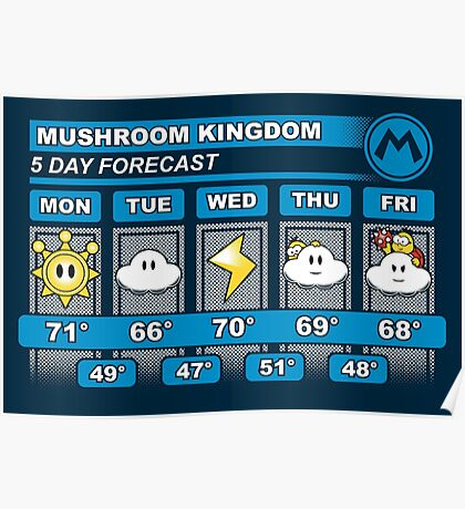 Mushroom Kingdom 5 Day Weather Forecast Poster