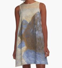 Haystacks, Snow Effect by Claude Monet A-Line Dress