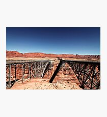 bridge in the desert with blue sky Photographic Print